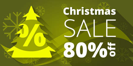 retailer: Christmas sale design template with green background Illustration