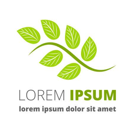 leaf shape: Green leaf vector logo with sample text