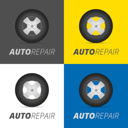 car tire: Tire service professional wheels installation service infographic elements set vector illustration