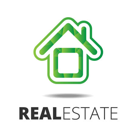 sample text: Real estate icon or  with house inside and sample text