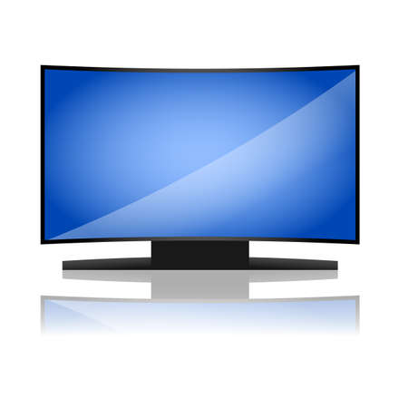 tv led: Curved plasma of led tv with black case and blue shiny screen