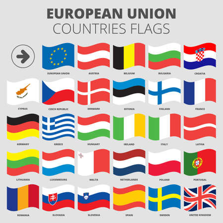 lithuania flag: European Union flags set for using with white backgrounds