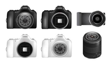 dslr camera: Realistic dslr camera set and three dimensional lens Illustration