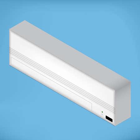 White airconditioner for medium room, isometric vector illustration Çizim
