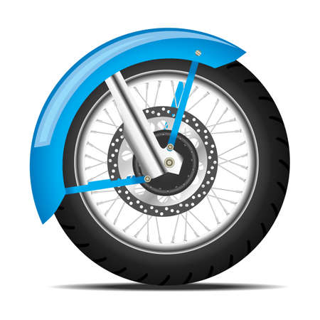 chrome wheels: Detailed black motorbike wheel with wing and shadow Illustration