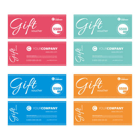 multi colour: multi color gift coupon set with text templates
