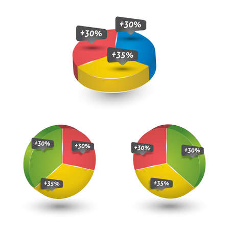 percentages: Colored template with pie chart and percentages Illustration