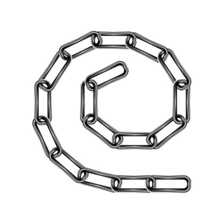 chain links: Colorized chain links set on white background