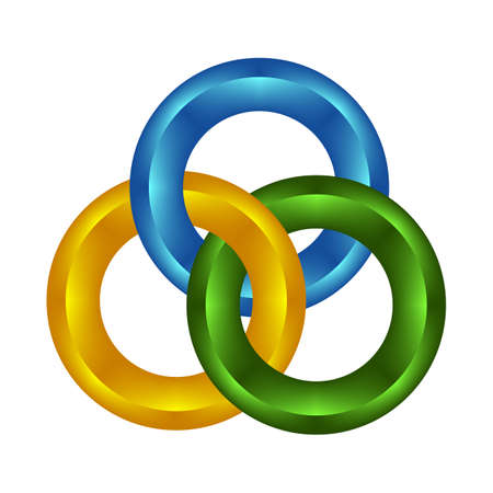 chain links: Colorized round chain links on white background Illustration