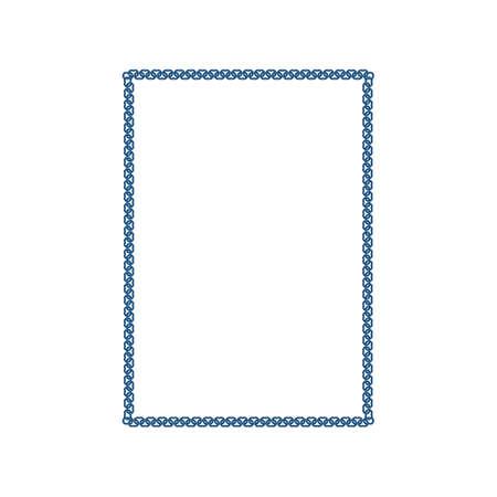 metallic: metallic chain frame element with white background