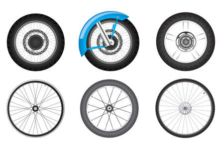 spoke: realistic black motorcycle and bicycle wheel set Illustration