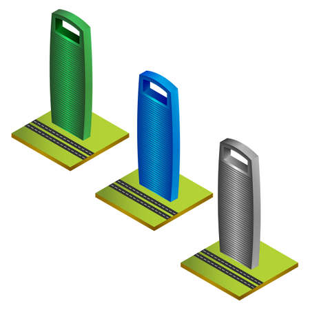 skyscrapers: colored isometric skyscrapers with green ground and roads Illustration
