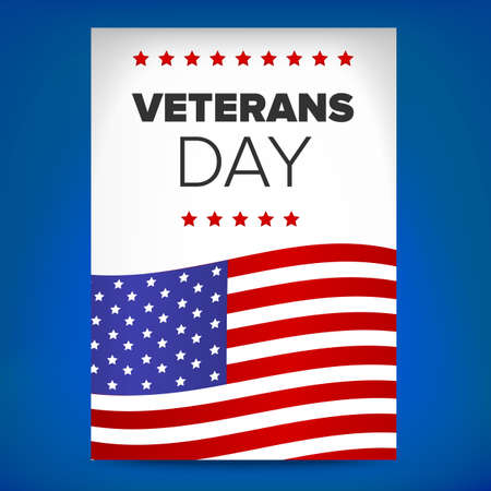 concept day: veterans day flyer concept on a blue background Illustration
