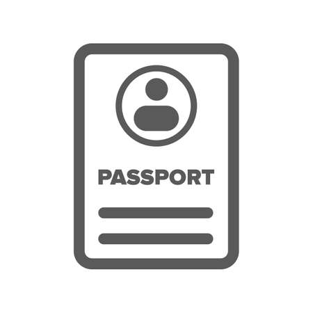 black ID passport icon on a white background Illustration