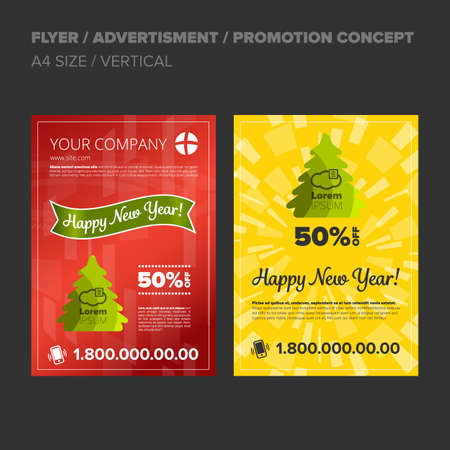 New Year Discount. Set of banners, flyers or posters