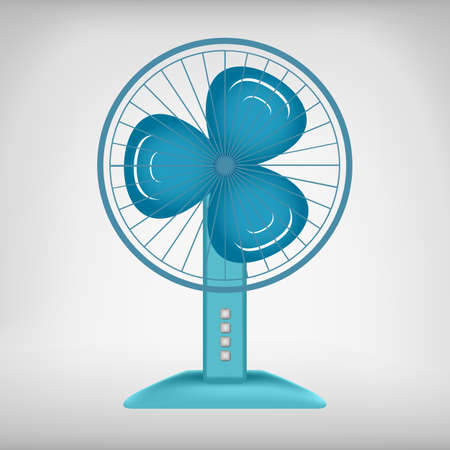 cooling system: Blue wave colored electric fan vector image. Cooling system
