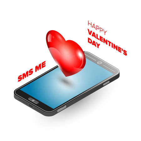 long distance: Valentine day illustration. Long distance relationship. Isometric phones with heart