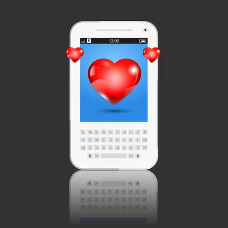 long distance: Valentine day illustration. Long distance relationship. Phone with heart