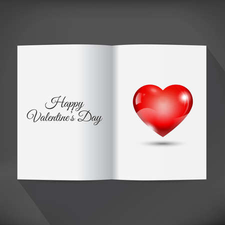 Blank open book for your wishes with heart and text Happy Valentines Day. Illustration