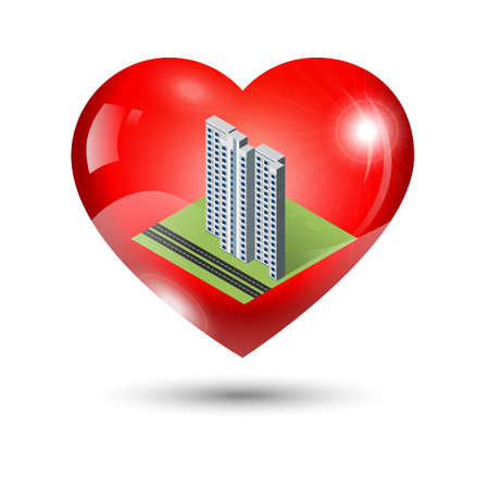 shiny heart: Shiny heart icon with isometric apartment building inside Illustration