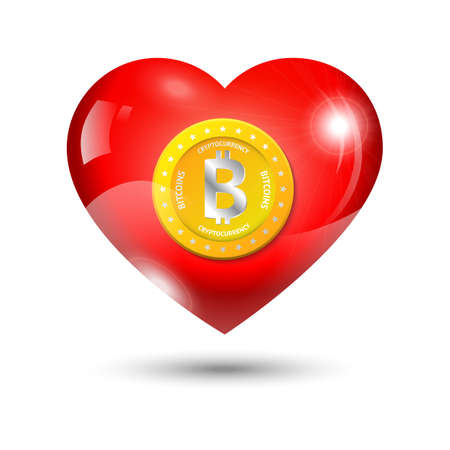 shiny heart: Golden bitcoin in a red shiny heart