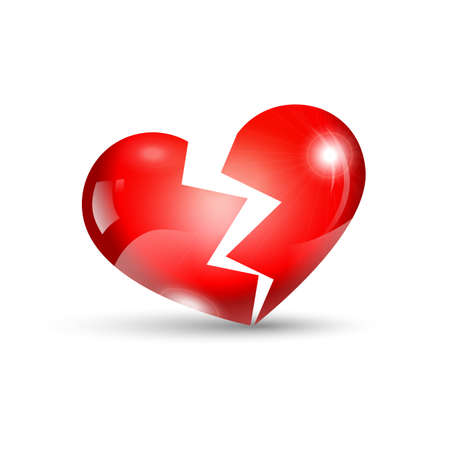jealousy: Broken isolated red heart with shadow on a white background