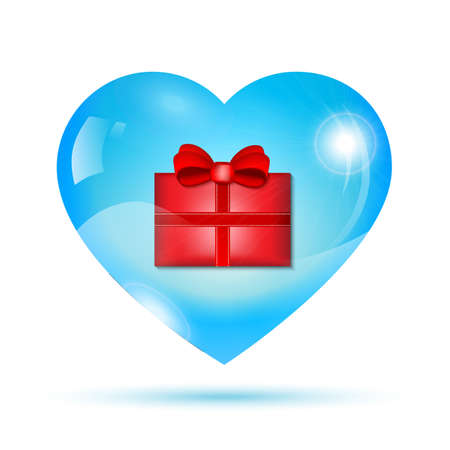 shiny heart: Red gift box inside a blue shiny heart