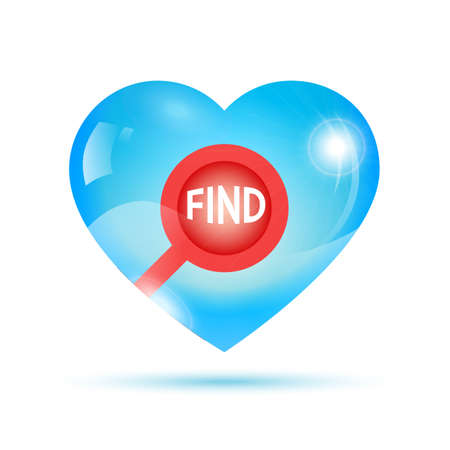 shiny heart: red search icon placed inside blue shiny heart Illustration