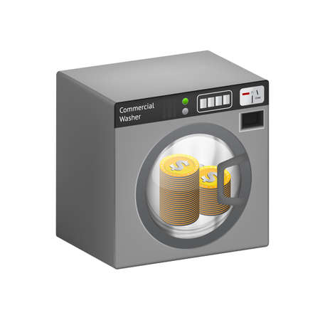 laundering: Dollar golden coins in a washing machine Illustration