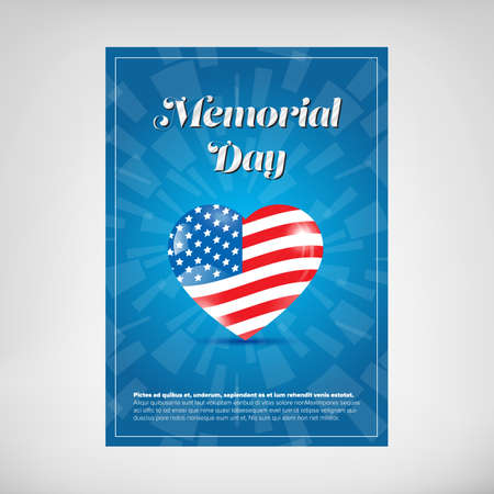 blue star: Blue Memorial day poster with map and flag
