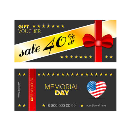 memorial day: Vector illustration,Gift voucher template with colorful pattern,cute gift voucher certificate coupon design template,Gift certificate