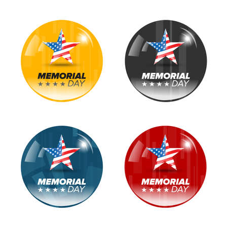 national freedom day: abstract memorial day badges with usa flag in star
