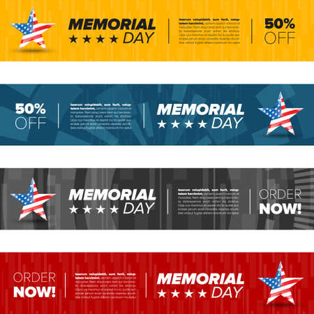 patriotic: horizontal memorial day banner set with icons and sample text Illustration