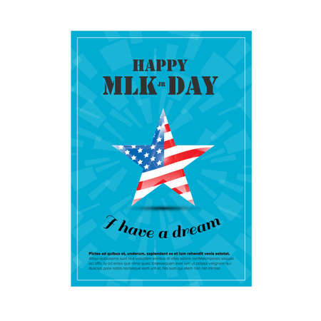 american downloads: Vector Happy Martin Luther King Day poster with usa flag Illustration