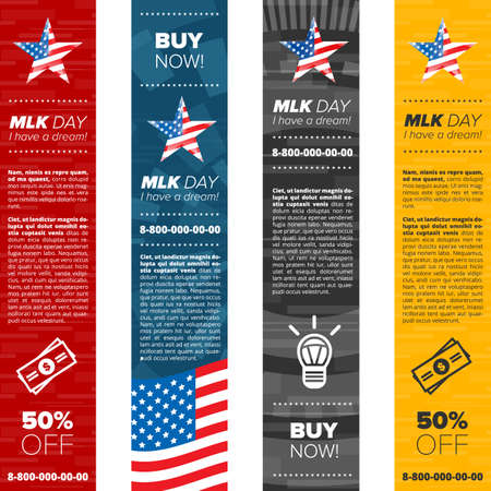 national hero: Martin Luther King vertical banner set with sample text and usa flag