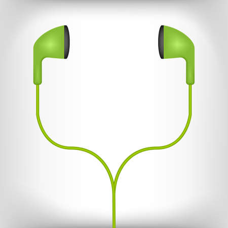 ear bud: green earphones illustration on a white background Illustration