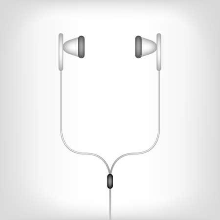 earphones: white earphones illustration on a white background