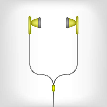 ear bud: green earphones with black wire on a white background Illustration