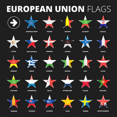 dark background: European Union flags set for using with dark backgrounds