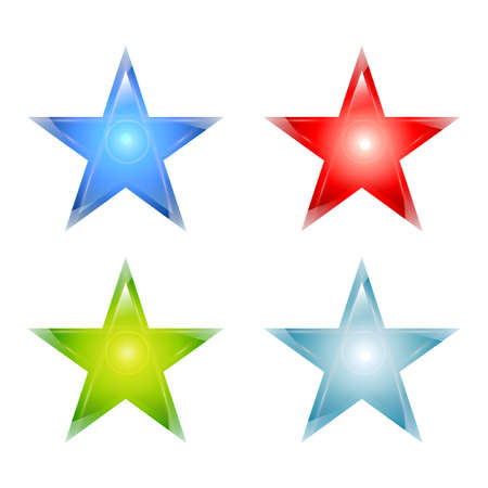 cian: Shiny stars set, maden from glass, different colors. Vector illustration