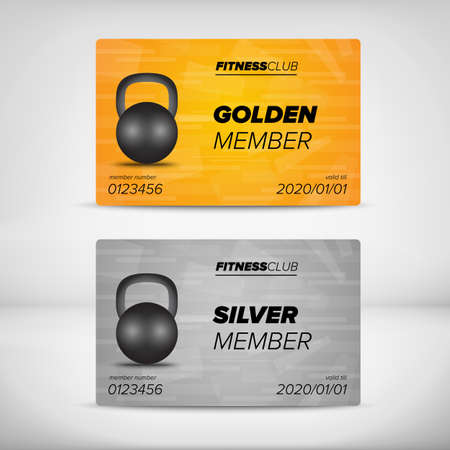 private club: Fitness Silver and Golden member card template