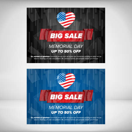 concept day: Memorial day sale banner concept. Vector Illustration