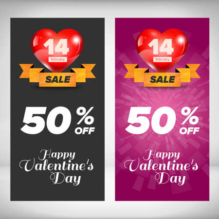 banner background: Valentine day vertical banners set. Design concept. Vector Illustration