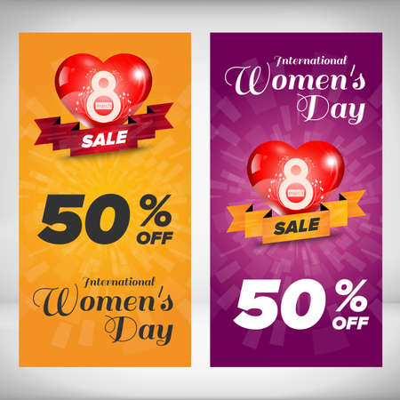 yellow background: Woman day vertical banners set. Design concept. Vector Illustration
