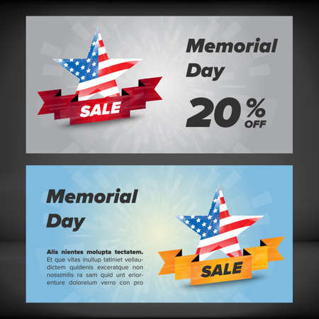 memorial day: Memorial day patriotic banner, card vector template Illustration