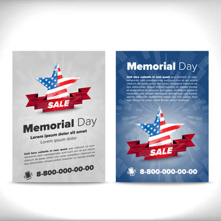 holiday border: Memorial day patriotic flayer, placard vector template Illustration