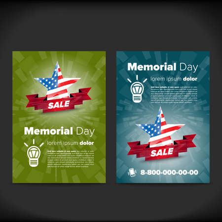 placard: Memorial day patriotic flayer, placard vector template Illustration