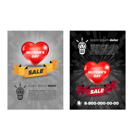 flayer: Mother day sale flayer with heart and ribbon
