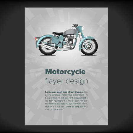 placard: Flayer or placard with motorcycle image inside Illustration