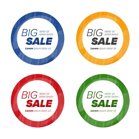 wholesale: Big sale circle stickers. Sale and discounts. Vector illustration